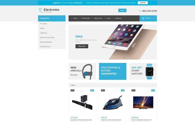 Electromo - Modèle OpenCart propre de commerce électronique de magasin d'électronique