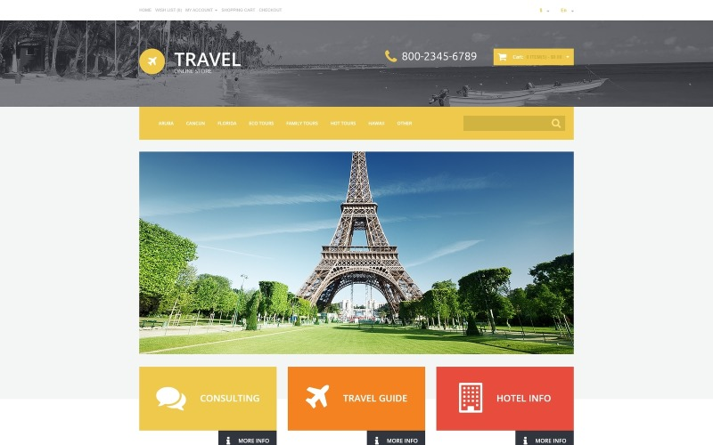 Šablona OpenCart reagující na cestovní kancelář