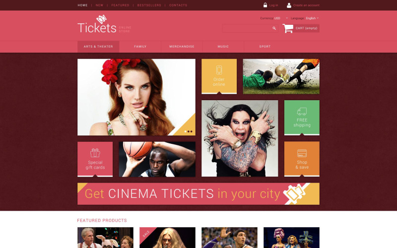 Tickets Website OsCommerce Vorlage