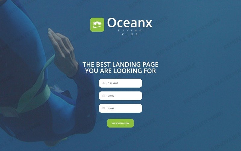 Diving Responsive Landing Page Template