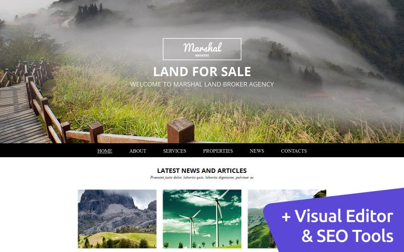 Marshal - Land Brokers Moto CMS 3 Template
