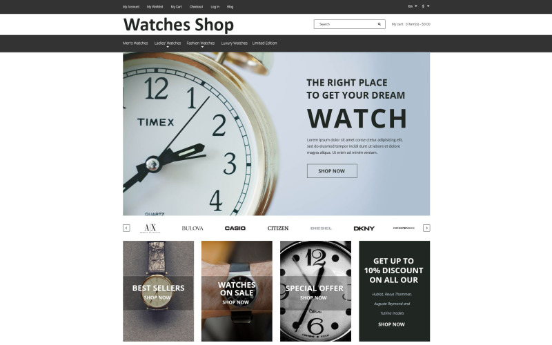 Saatler Mağazası Magento Teması
