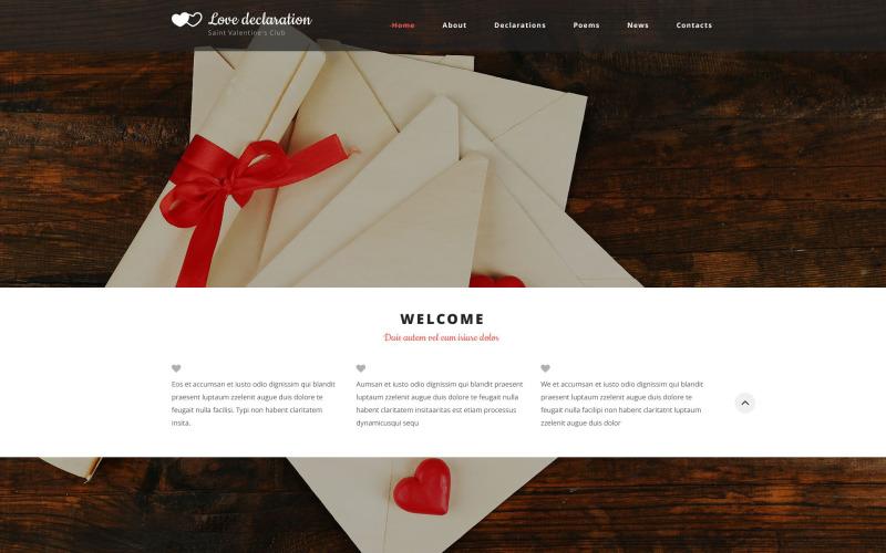 Šablona webových stránek Prohlášení o lásce