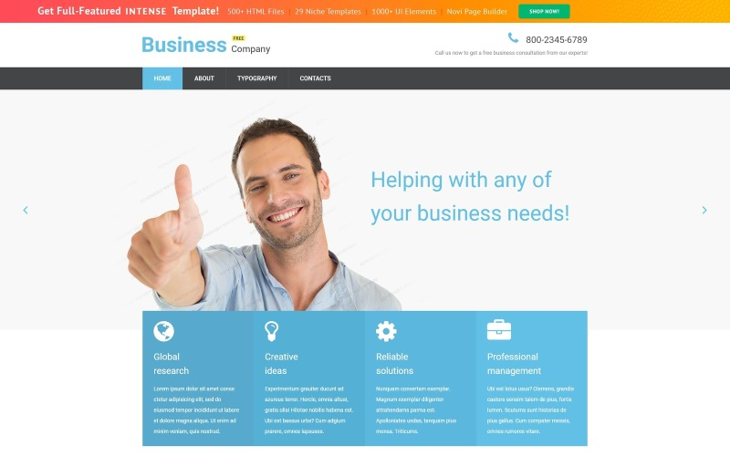 Бесплатный адаптивный шаблон бизнес-сайта