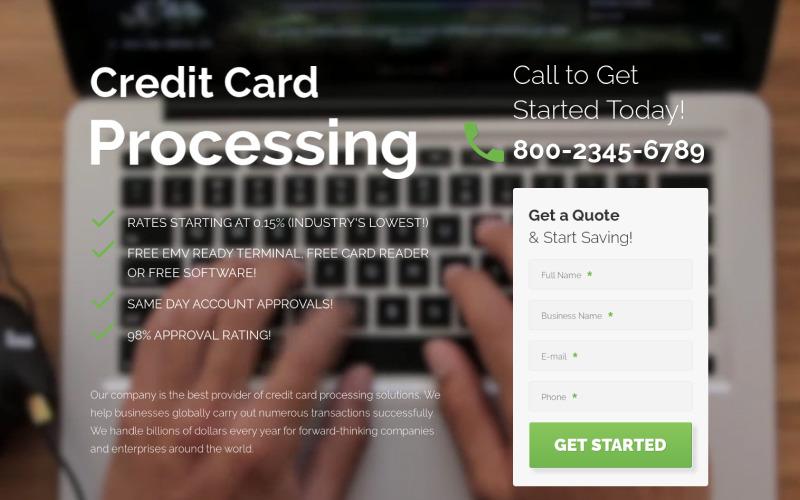Processamento de cartão de crédito - modelo de página de destino criativa em HTML de serviços para comerciantes