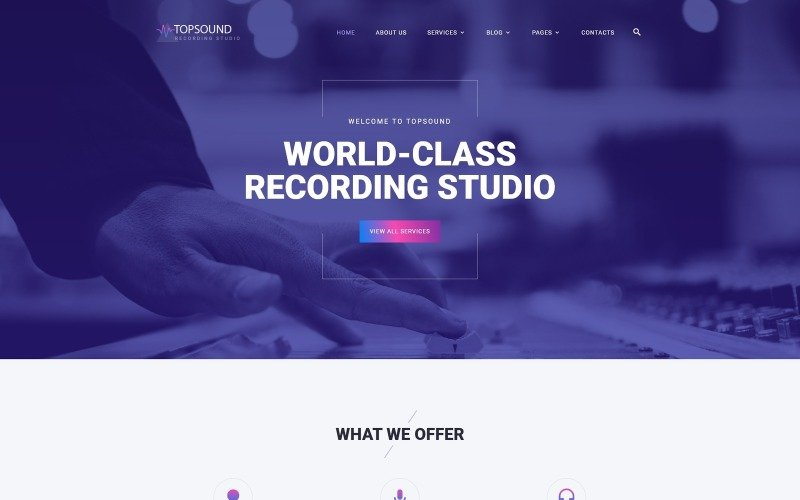 TopSound - Recording Studio Modern Multipage HTML Website Template