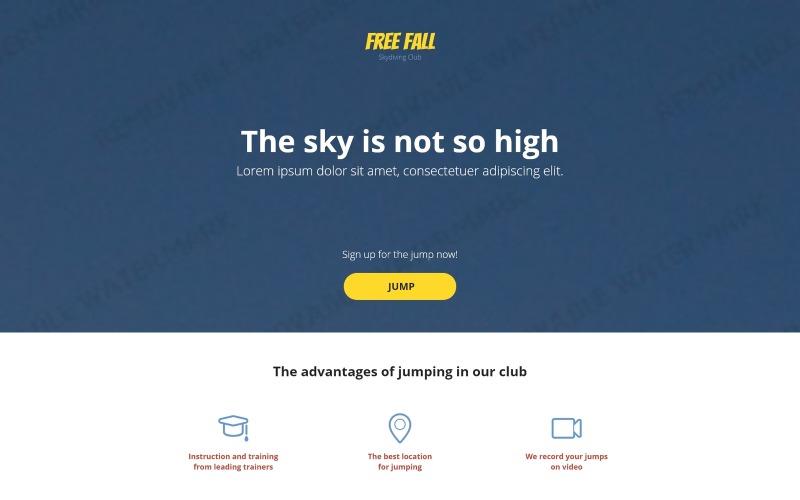 Skydiving Duyarlı İniş Sayfası Şablonu