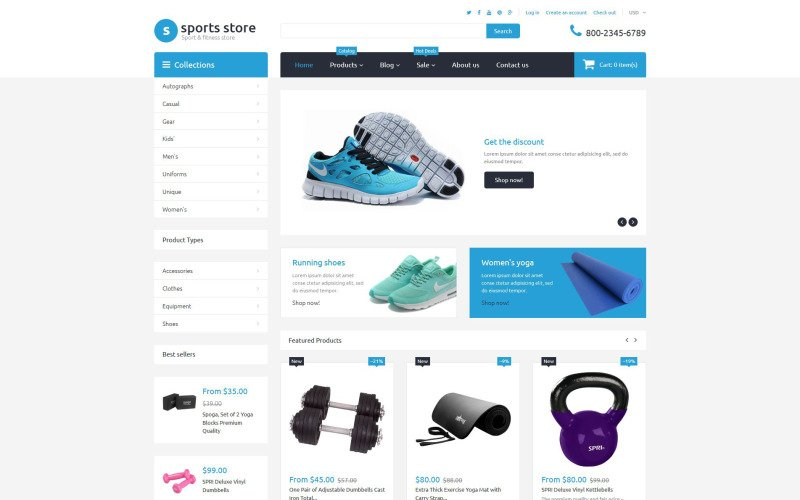 Sports Store Free Shopify Template