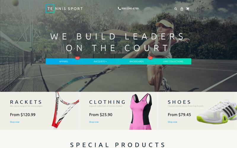 Tema Magento per accessori da tennis