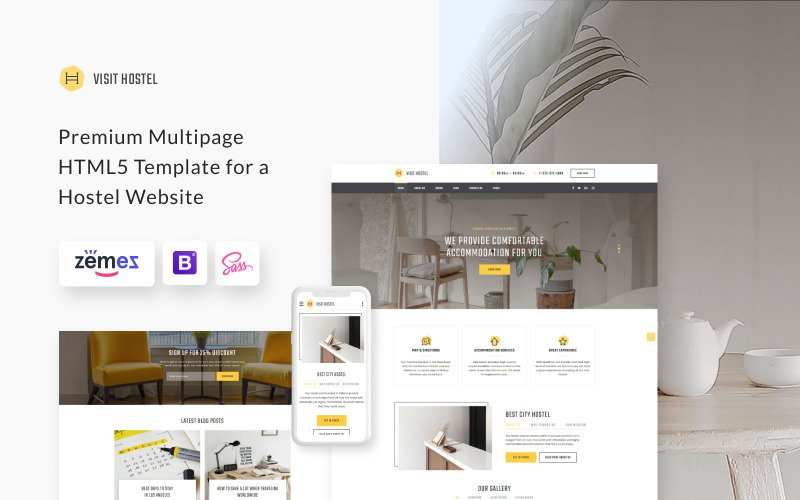 Hostel - Reizen HTML5-websitesjabloon met meerdere pagina's