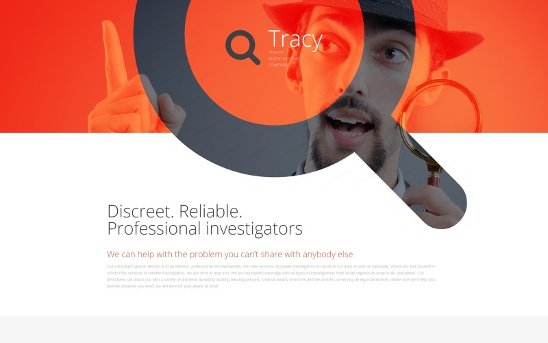 Private Investigator Responsive Landing Page Template