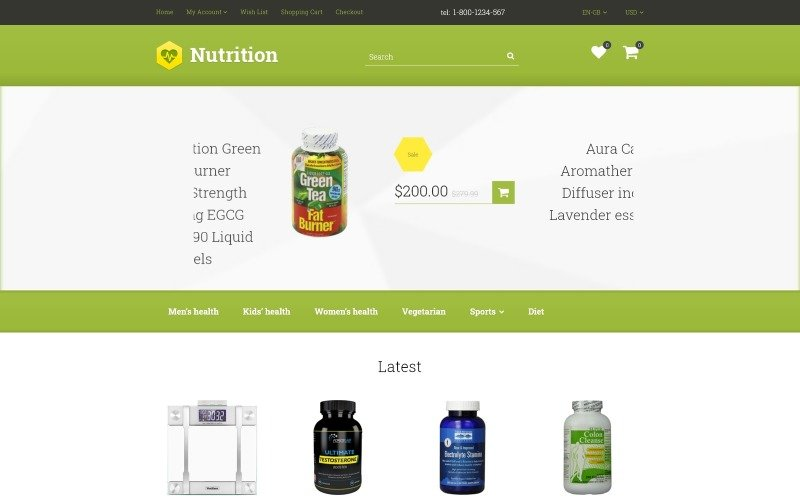 Nutrition/Supplements OpenCart Template