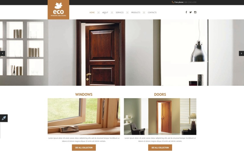 Modelo de site responsivo de janela