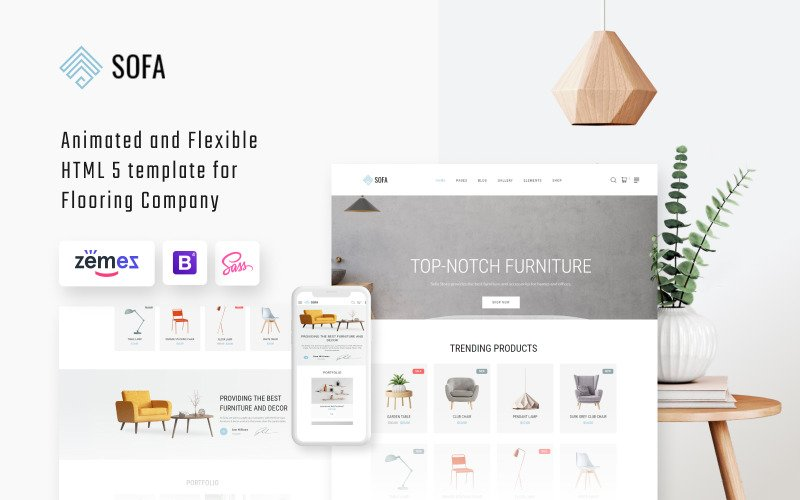 Sofa - Interil Design Agency Mehrseitige HTML-Website-Vorlage
