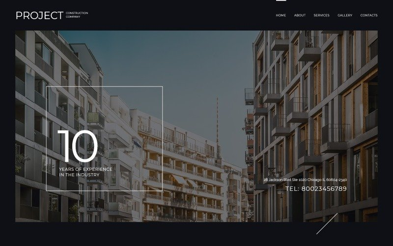 Modello di sito Web di Project Construction Company