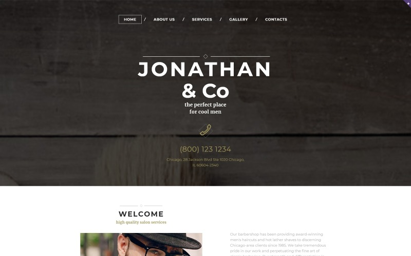 Hair Salon Responsive Website Template