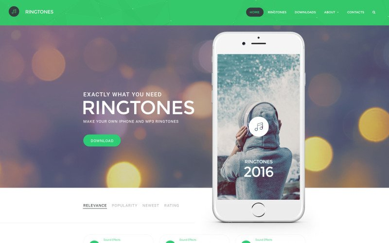 Ringtones Portal Website Template
