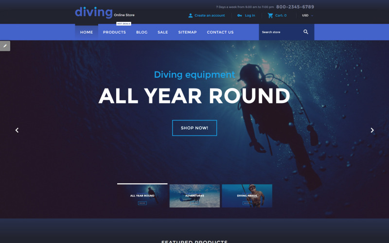 Dykning Online Store Shopify-tema