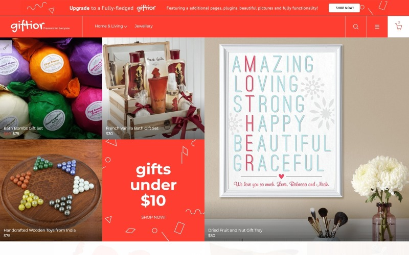 Giftior - Gifts Store Multipage Kreatywny darmowy szablon OpenCart