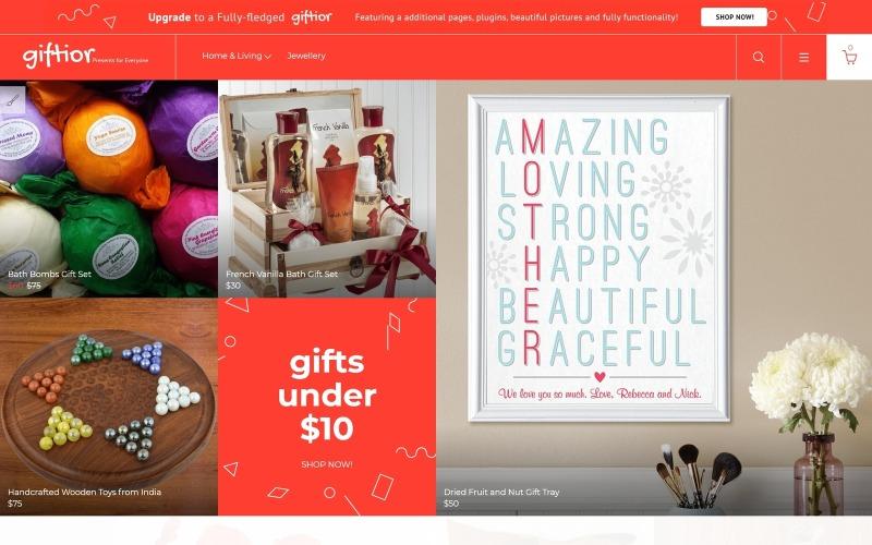 Giftior - Многостраничный креативный бесплатный шаблон OpenCart для магазина подарков