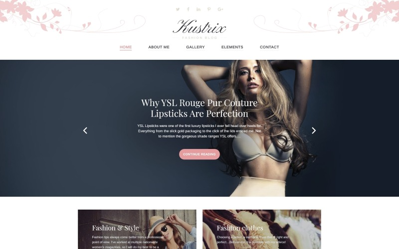 Kustrix - Тема WordPress про журнал модного журналу