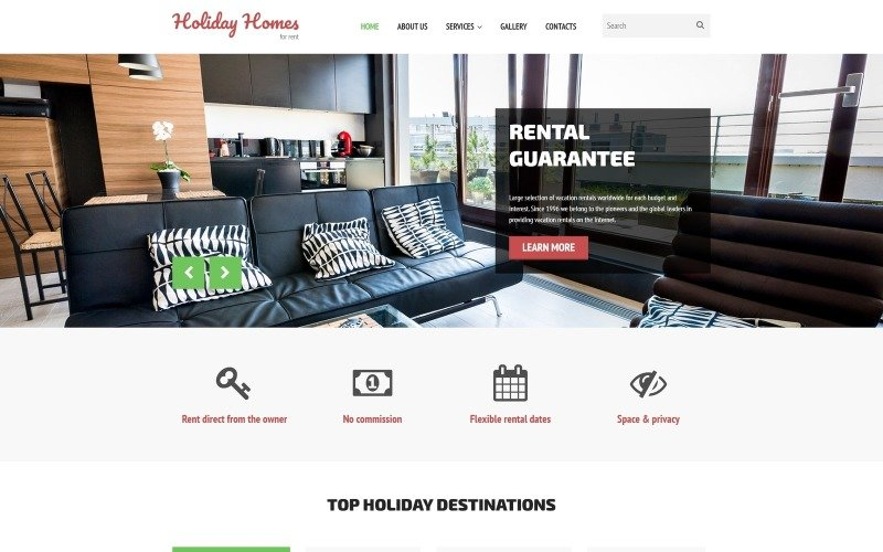 Holiday Homes for Rent Website Template