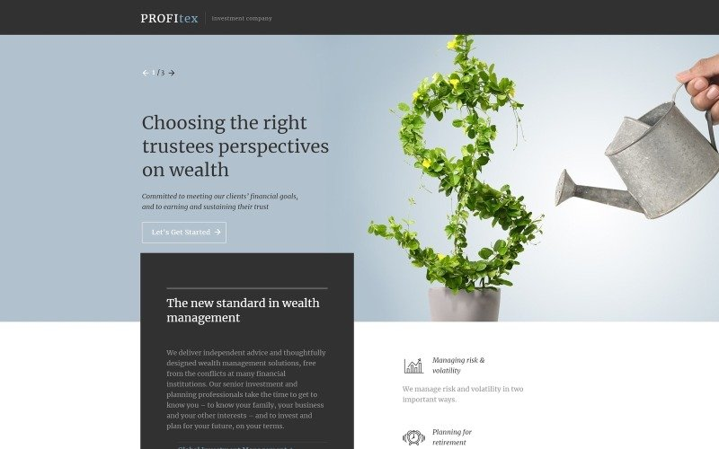 Investment Company Responsive Landing Page Template