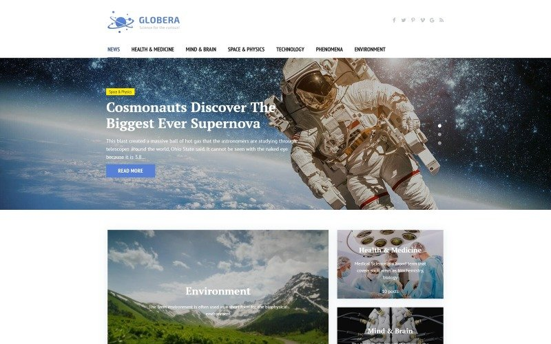 Science News Portal & Magazine WordPress theme