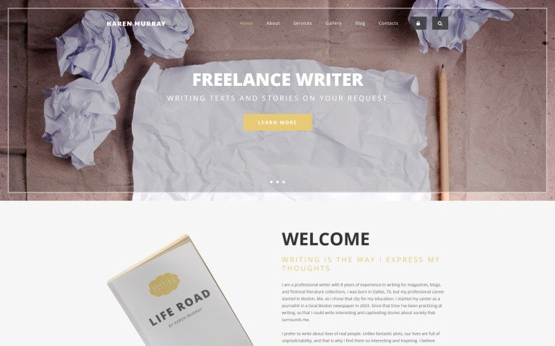 Freelance Writer Drupal Template