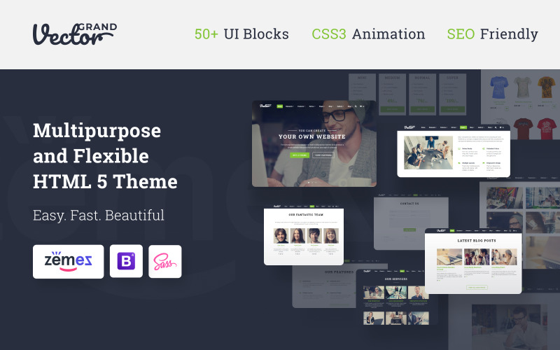 Grand Vector - Web Design Studio HTML5 webhelysablon
