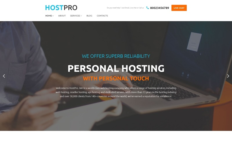 HostPro WordPress-tema