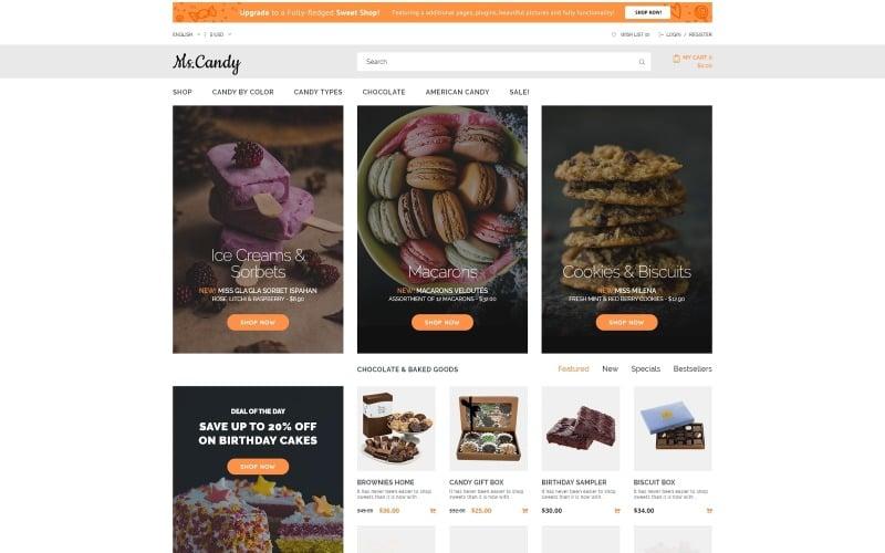Ms.Candy - modelo OpenCart moderno da Sweet Shop
