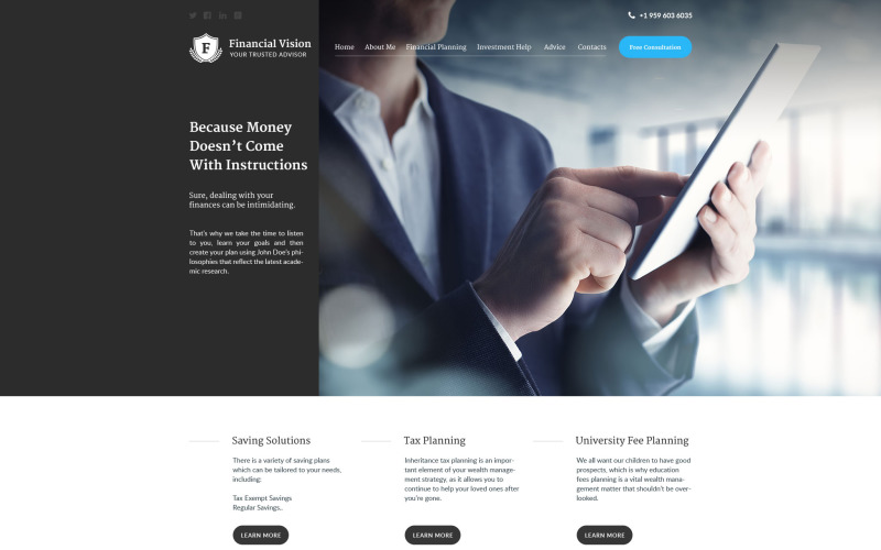 Financial Vision Website-Vorlage