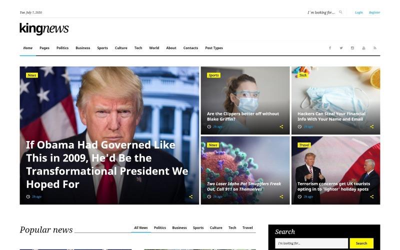 KingNews - Modèle de site Web réactif pour le portail de nouvelles