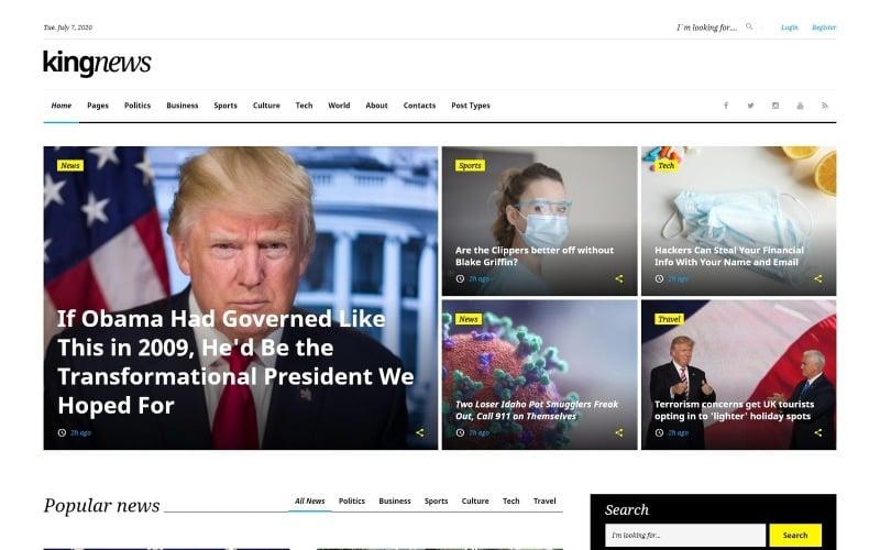 KingNews - Plantilla de sitio web adaptable para el portal de noticias