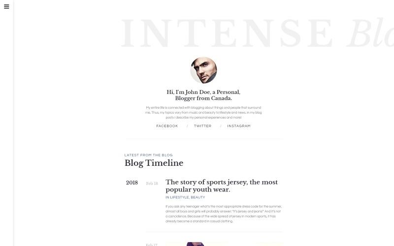 Интенсивный шаблон веб-сайта блога