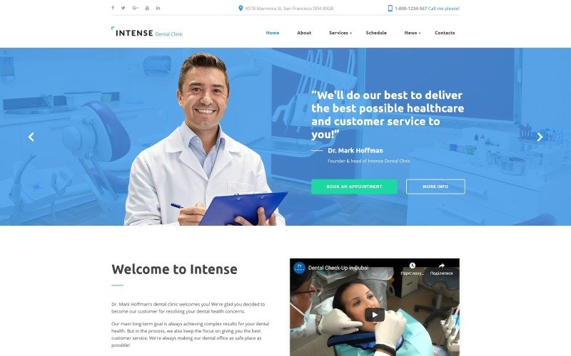 Шаблон сайта стоматологической клиники Intense