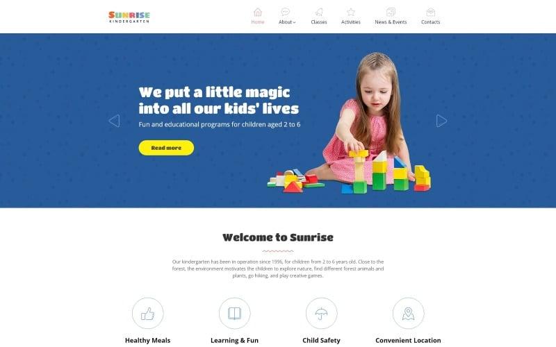 Sunrise - Kids Center & Kindergarten Responsive Website Template