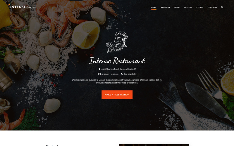 ИНТЕНСИВНЫЙ шаблон сайта ресторана