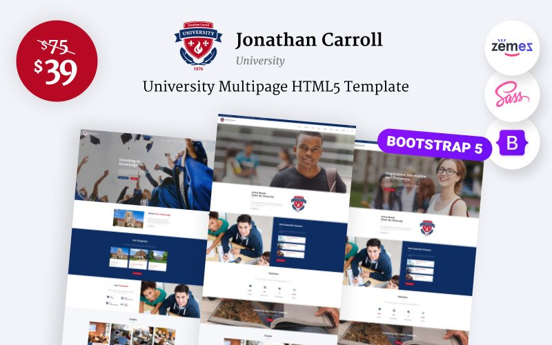 Jonathan Carroll - Modèle de site Web HTML5 réactif pour l'université