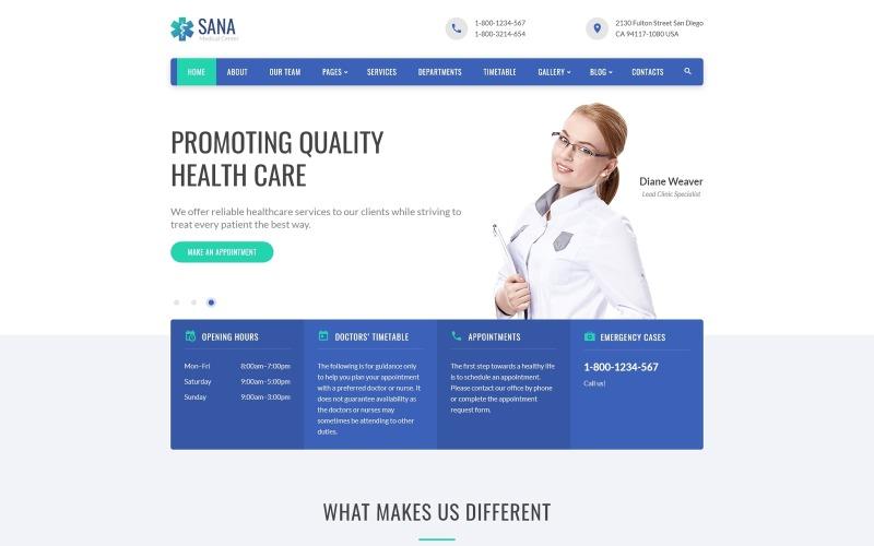 Sana - Medicinsk ren responsiv webbplatsmall