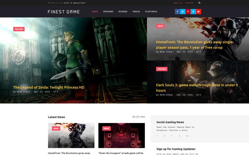 Finest Game Website Template