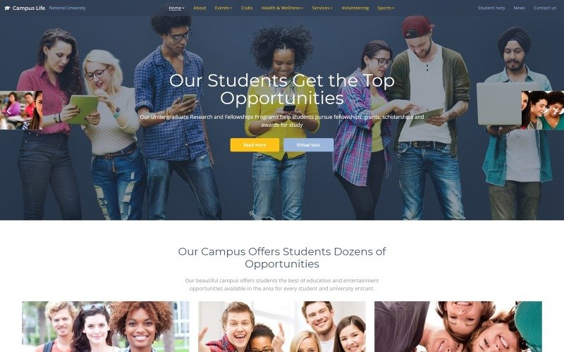 Campus Life - National University Multipage Website Template