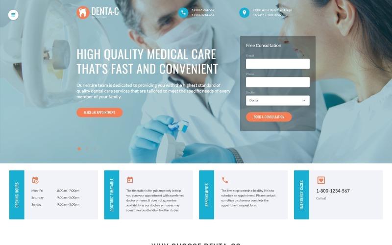 Plantilla web para sitio web de centro dental