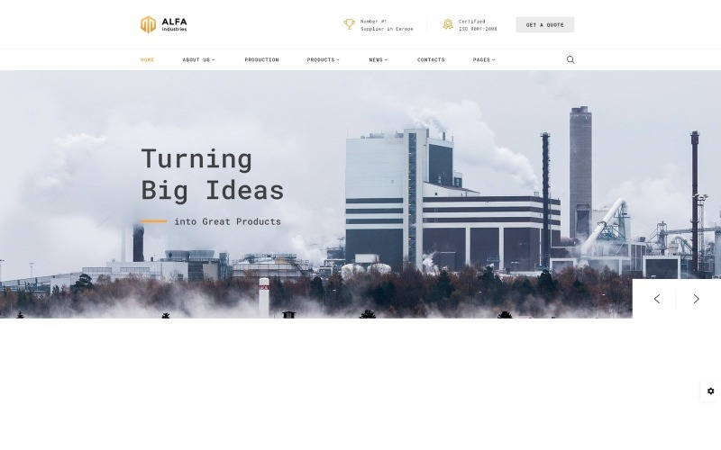 Alfa Industries - Modello di sito web multipagina per industrie pesanti