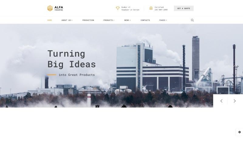 Alfa Industries - webbplats för tunga industrier med flera sidor