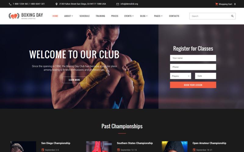 Boxing Day - responsywny szablon witryny Boxing Lifestyle Club