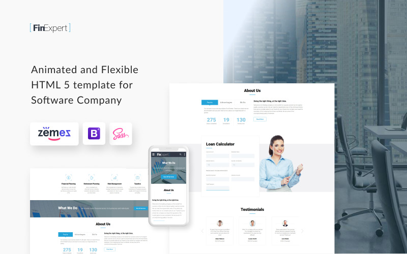Conseiller financier - Modèle de site Web réactif
