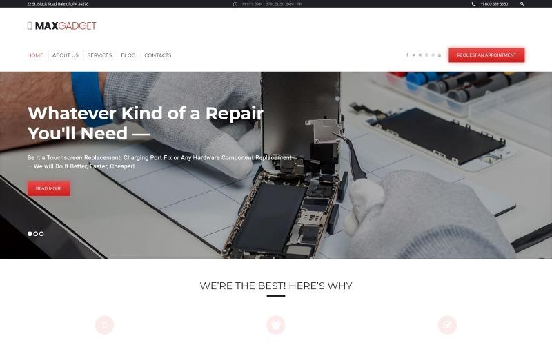 MaxGadget - тема WordPress по обслуживанию компьютеров и ремонту электроники
