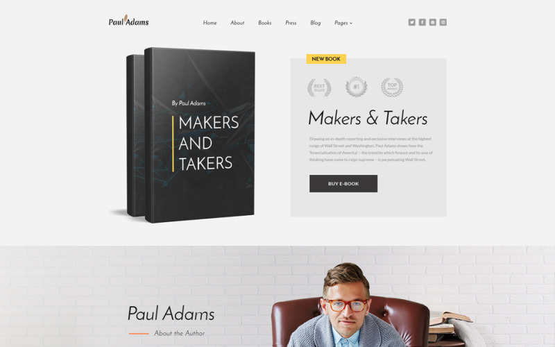 Paul Adams - Writer Multipage Creative HTML Website Template